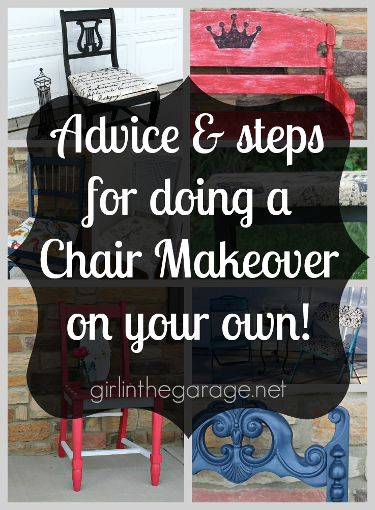 Advice and steps for doing a chair makeover.  girlinthegarage.net