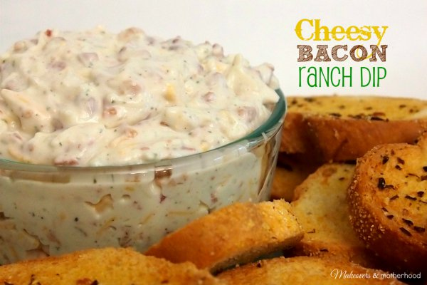 Cheesy Bacon Ranch Dip; www.makeoversandmotherhood.com