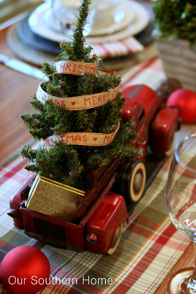 Decorating with vintage cars at Christmas via Our Southern Home