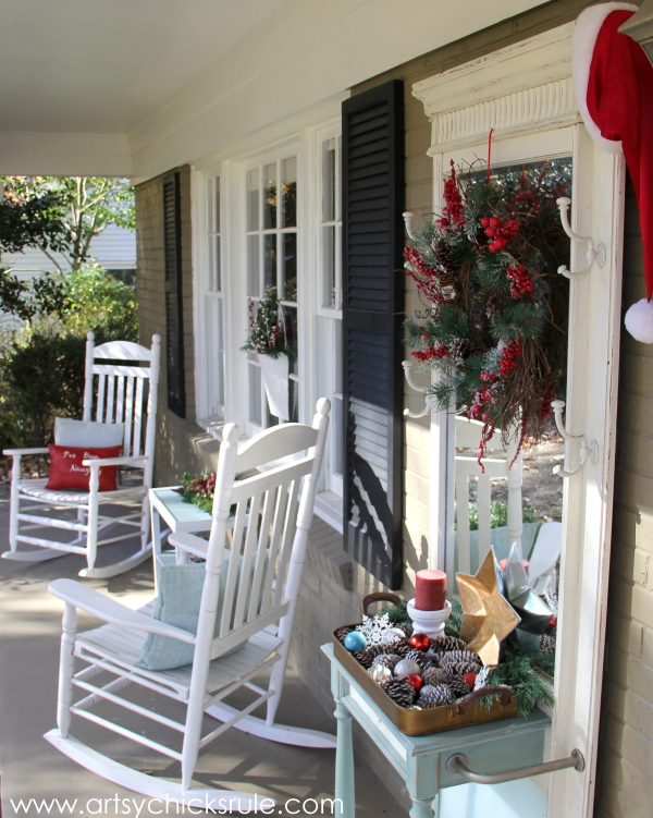 Holiday Front Porch Decor - Welcome Home Tour - #wreath #diy #porch #ornamentwreath artsychicksrule.com