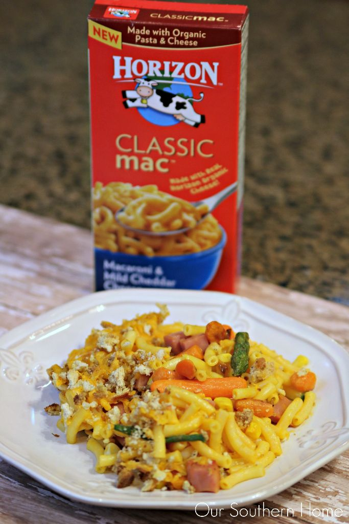 One Dish Mac and Cheese dinner with veggies and ham is a huge hit with my family using Horizon! #ad #macnator