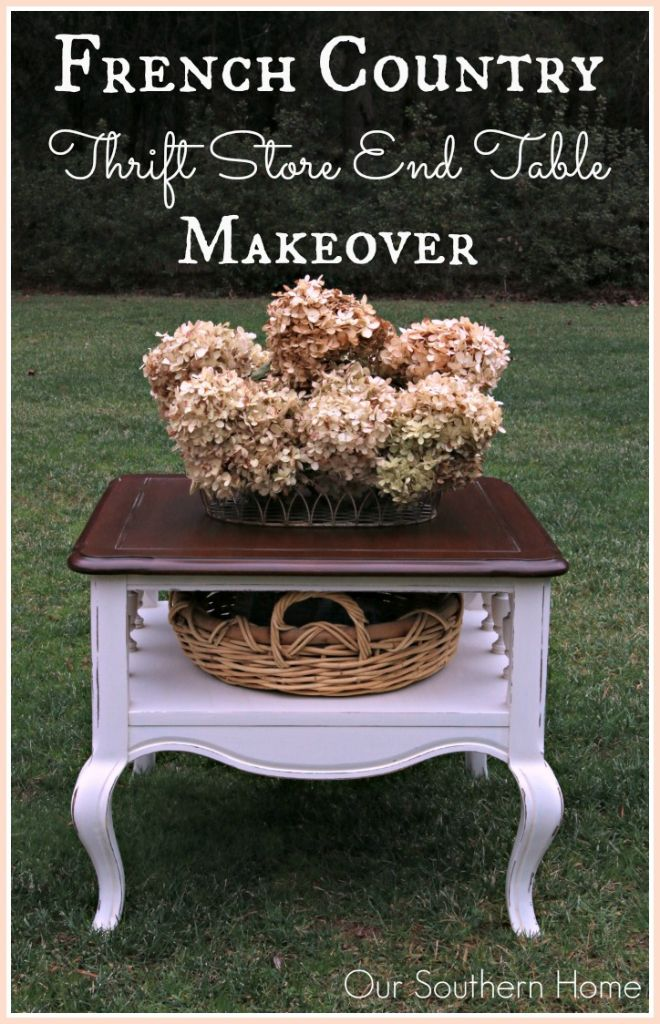 French Country thrift store end table makeover  by Our Southern Home using Americana Decor Chalky Finish Paints and Minwax PolyShades.