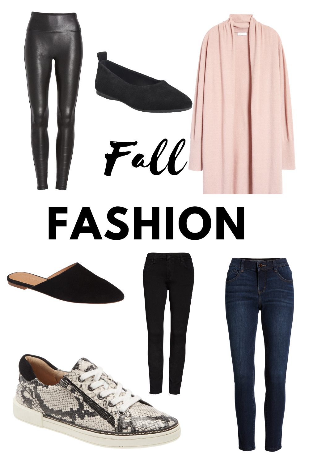 graphic collage of fall fashion ideas for women