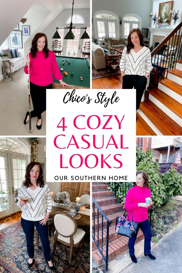 collage of woman wearing 4 outfits from chicos