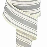 Farmhouse Stripe on Cotton Wired Edge Ribbon - 2.5 Inches x 10 Yards (Ivory, Cool Grey)