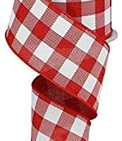 "Plaid Check Wired Edge Ribbon - 10 Yards (Red, White, 2.5"")"
