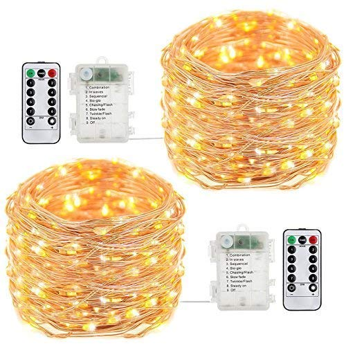 buways Fairy Lights, 2-Pack Battery Operated 50 LED Fairy String Lights,16.4feet Light with Remote Control for Party Garden Home Decoration (Warm White)