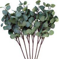 Seanmi Artificial Eucalyptus Leaves, 6 Pcs Faux Dried Silver Dollar Eucalyptus Garland Branches Stems, Fake Greenery Decor Plastic Plants for Decoration (25.6 Inches Tall, Grey Green)