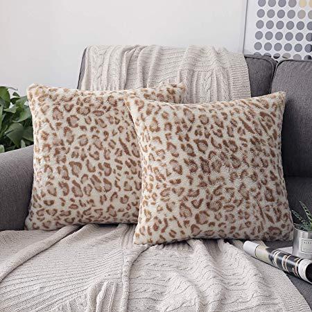 Phantoscope Set of 2 Decorative Leopard Series Soft Plush Fur Throw Pillow Case Cushion Cover Yellow 18 x 18 inches 45 x 45 cm