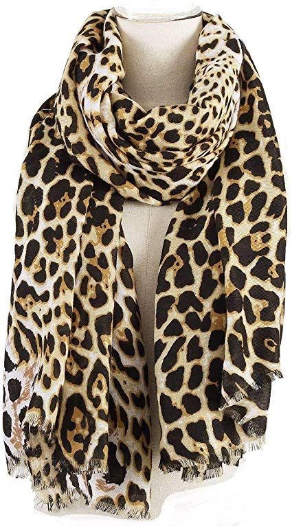 Leopard Print Scarf for Women Oversized Fashion Animal Cheetah Wrap Shawl Cotton Scarves 75 by 40 Inches by AIWANK
