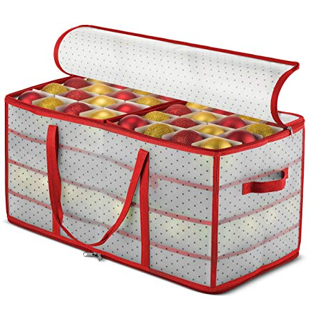 """Plastic Christmas Ornament Storage Box Large with 2 Sided Dual Zipper Closure - Keeps 128 Holiday Ornaments, Xmas Decorations Accessories, 3"""" Compartments - Sturdy Flexible Plastic"""