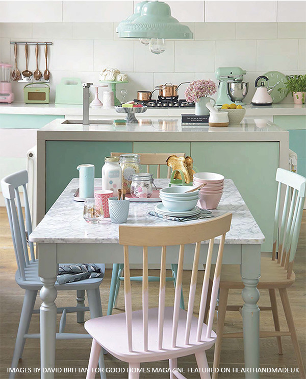 A-Gorgeous-Pastel-Dining-Room-and-Kitchen-Area-with-painted-chairs-600×742 & A-Gorgeous-Pastel-Dining-Room-and-Kitchen-Area-with-painted-chairs ...