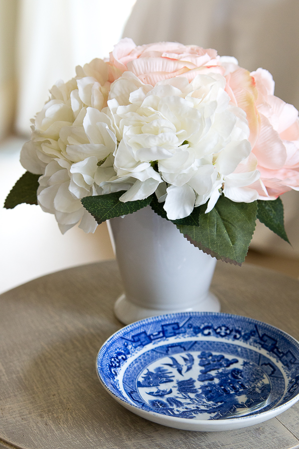 florals with blue and white plate