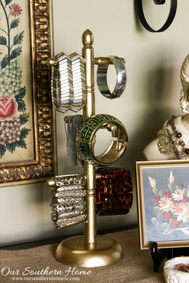 Coffee mug holder turned into a glam bracelet organizer by Our Southern Home