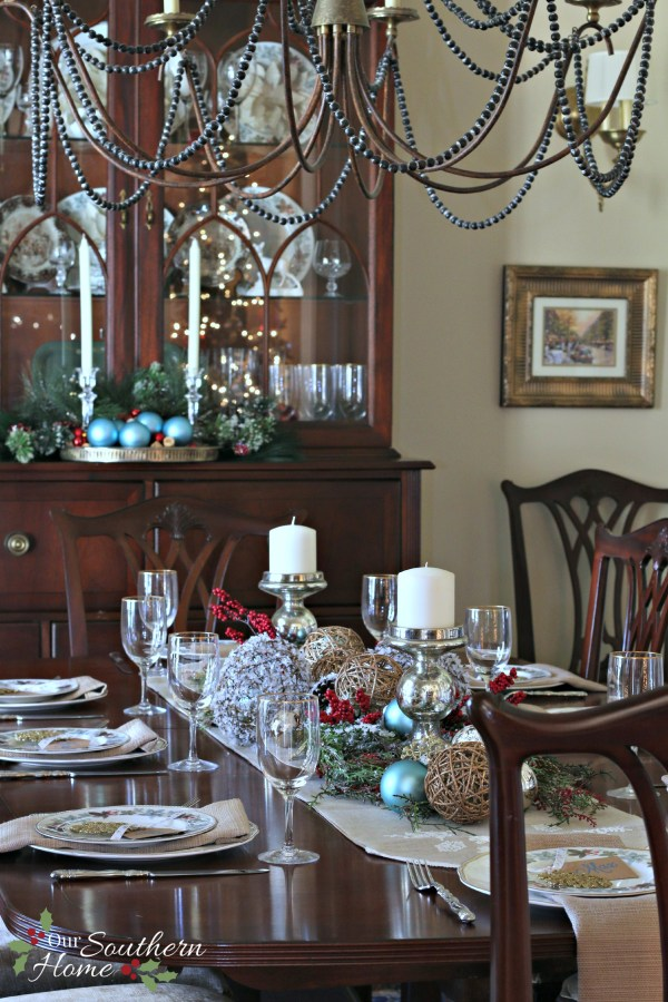 Christmas dining room using blues along with traditional reds by Our Southern Home