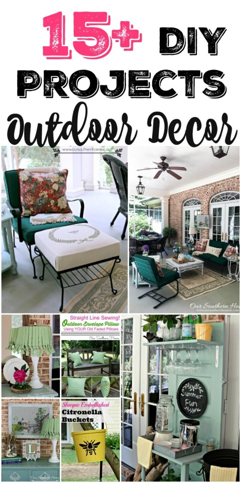 Over 15 DIY Projects for outdoor decor. Many are thrift store finds! #outdoordecor