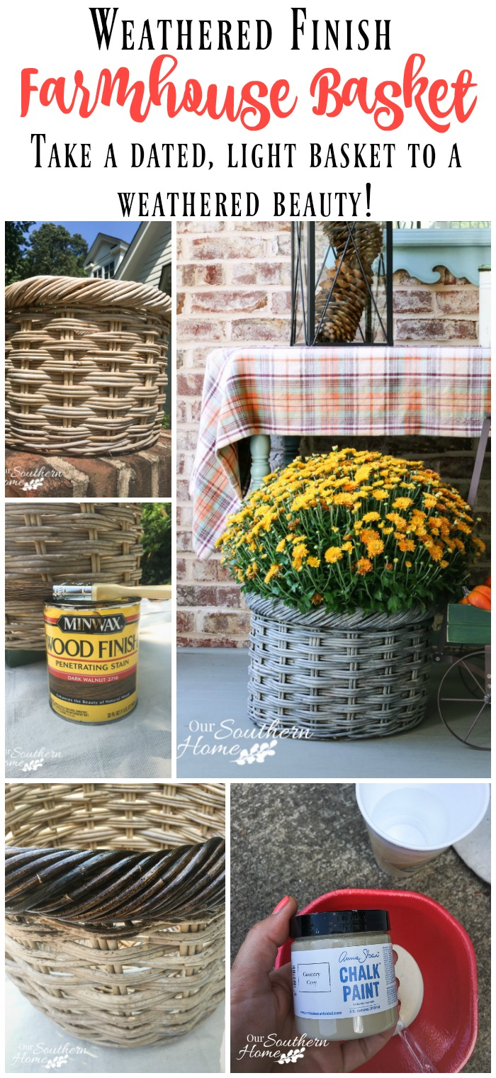 DIY weathered farmhouse basket makeover with a thrift store find with this month's Thrift Store Decor Makeover by Our Southern Home