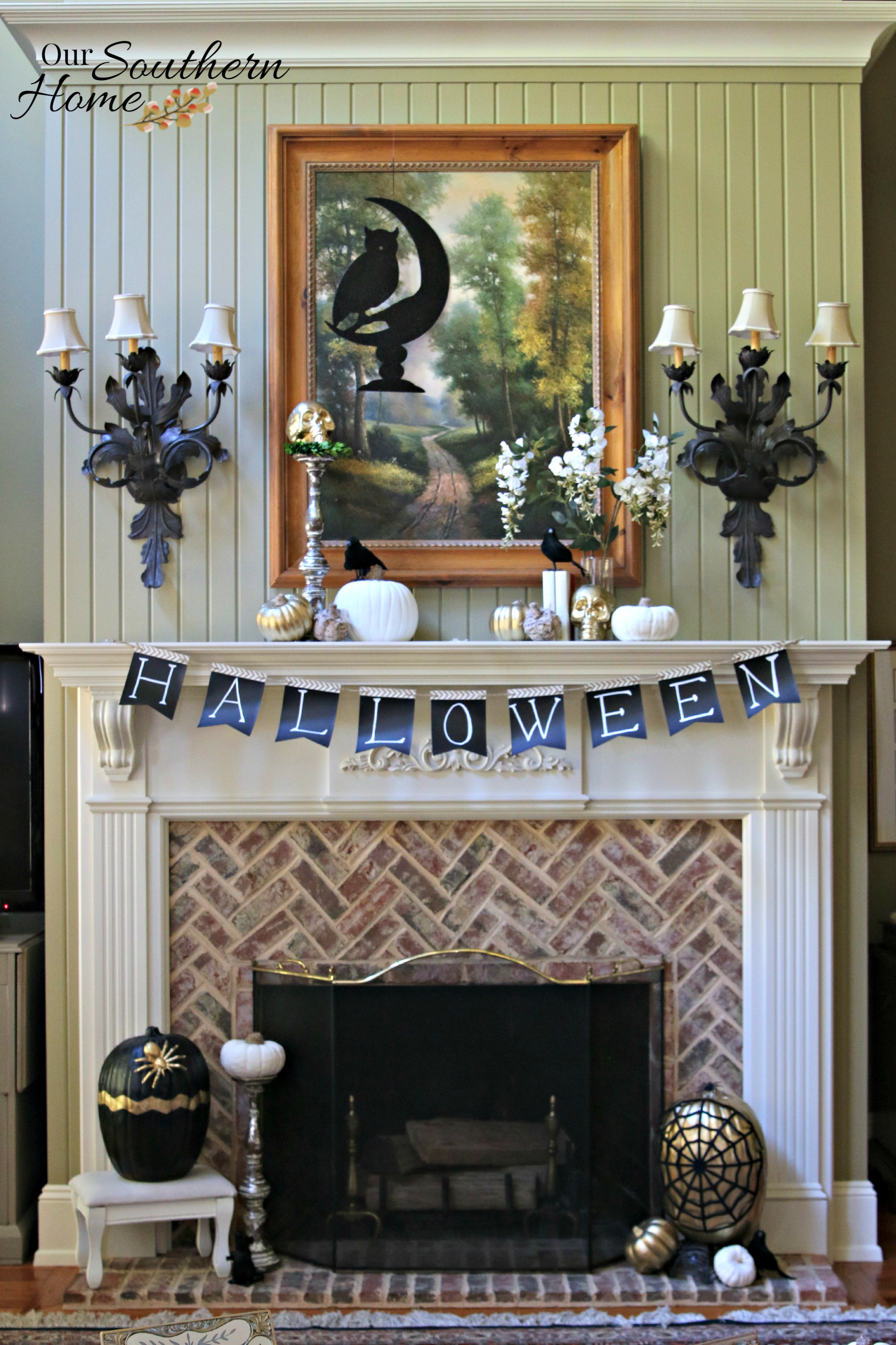 Holiday Decor Challenge {Halloween Mantel} · Simple Fall Tablescape By Our Southern  Home