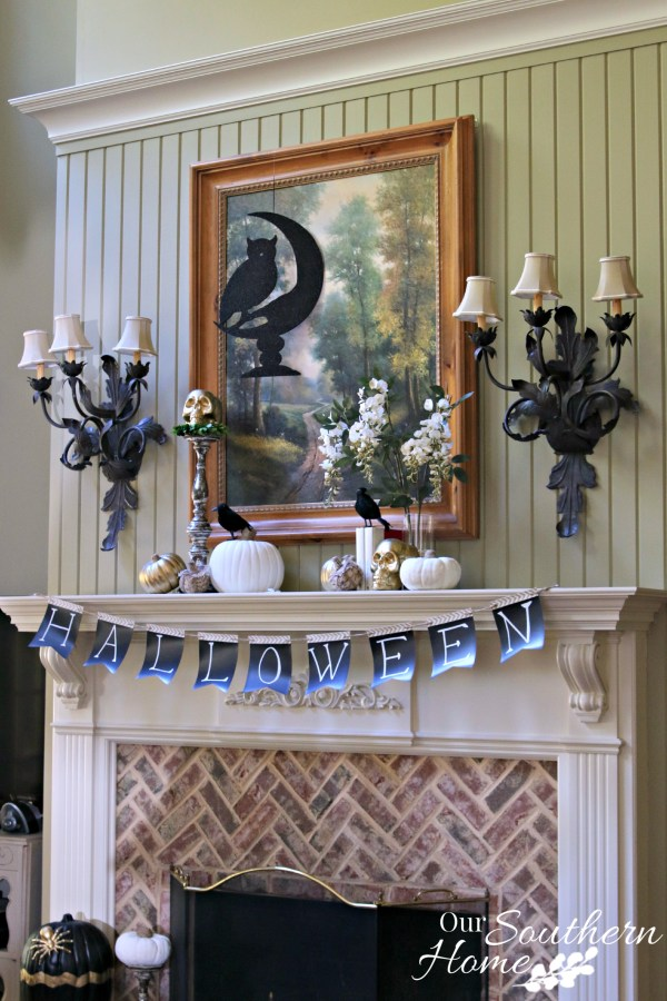 Halloween mantel for #decorEnthusiast decorating challenge by our southern home 15