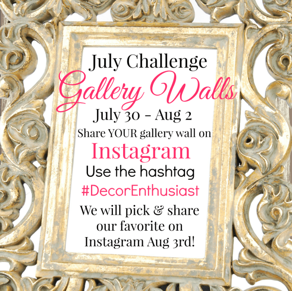 July Challenge: Share your gallery wall with us! Details at Our Southern Home