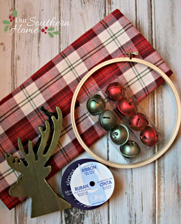 Jingle bell wreath for the #Christmasideastour by Our Southern Home. Anyone can embroider letters! It is so easy!