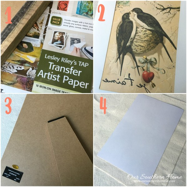 Supplies needed and process for creating iron on transfer framed art by our southern home