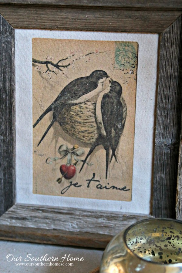 Lovebirds easy and quick iron on transfer for framed art by Our Southern Home