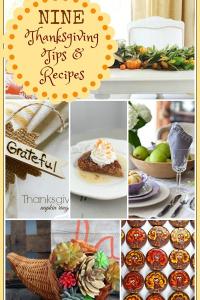 Nine Thanksgiving Tips and Recipes with features from Inspiration Monday!