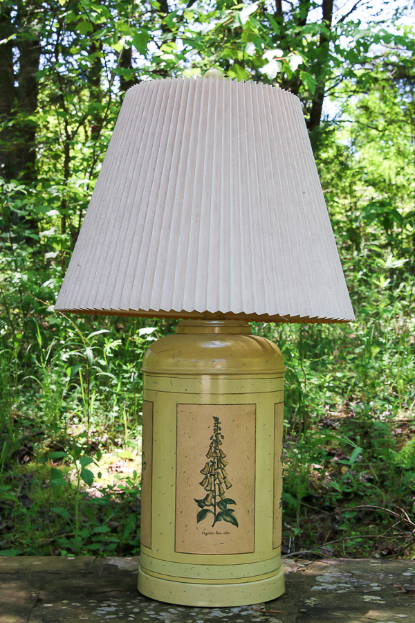 Before photo of Shades of Blue Lamp Makeover.