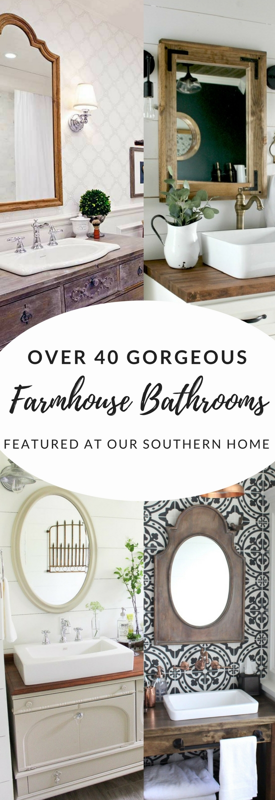 Over 40 gorgeous farmhouse bathroom ideas from the simple makeover to full remodel. There is a little something for every budget. #farmhousebathroom #bathroommakeover #bathroomideas