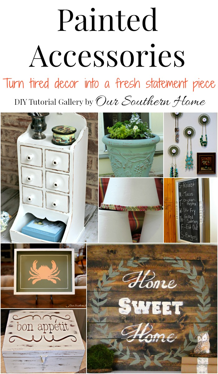 Large gallery of painted home decor to freshen up your own items or thrift store finds! Great tips from Our Southern Home