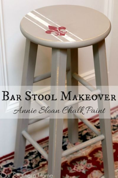 Bar stool makeover with Annie Sloan Chalk Paint via Our Southern Home #chalkpaint #anniesloanchalkpaint