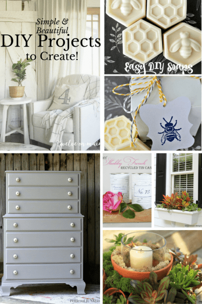 Simple and Beautiful DIY Projects to Create from the weekly Inspiration Monday link party!