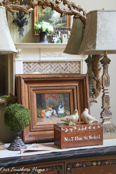 Thrift Store Stenciled and Hand-painted Box makeover by Our Southern Home #thriftstoremakeover #diy