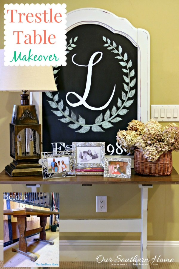 Thrift store trestle table makeover with a new stained top and chalk paint by Our Southern Home