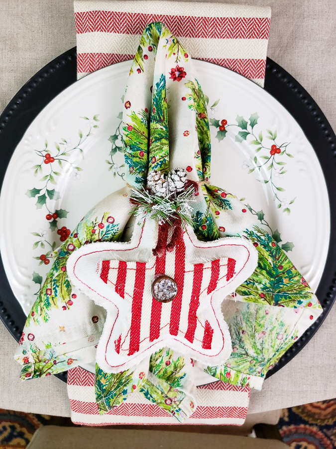 Christmas table with dishes