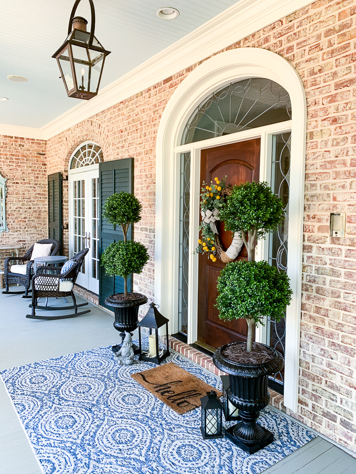 front porch with decor