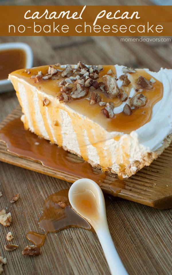 caramel pecan no-bake cheesecake