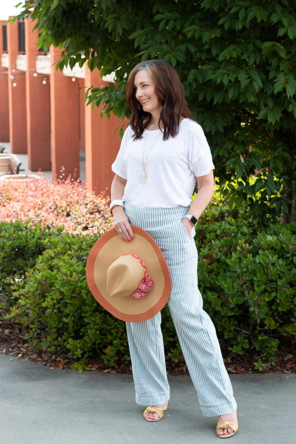 pants outfit with hat