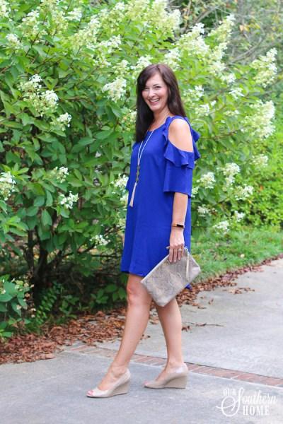 Cobalt Blue Cold Shoulder Dress and More