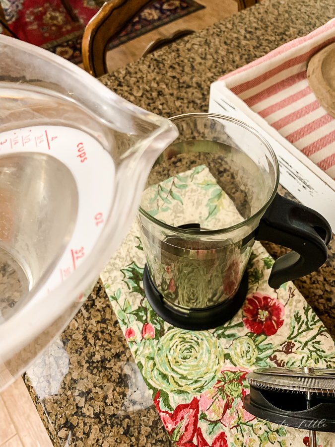water in French Press