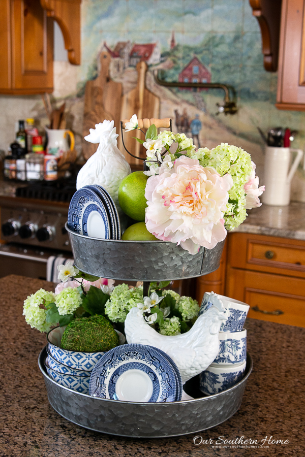 tiered stand with flowers