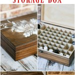 DIY stenciled essential oils storage box is a simple spruce up to unfinished storage.