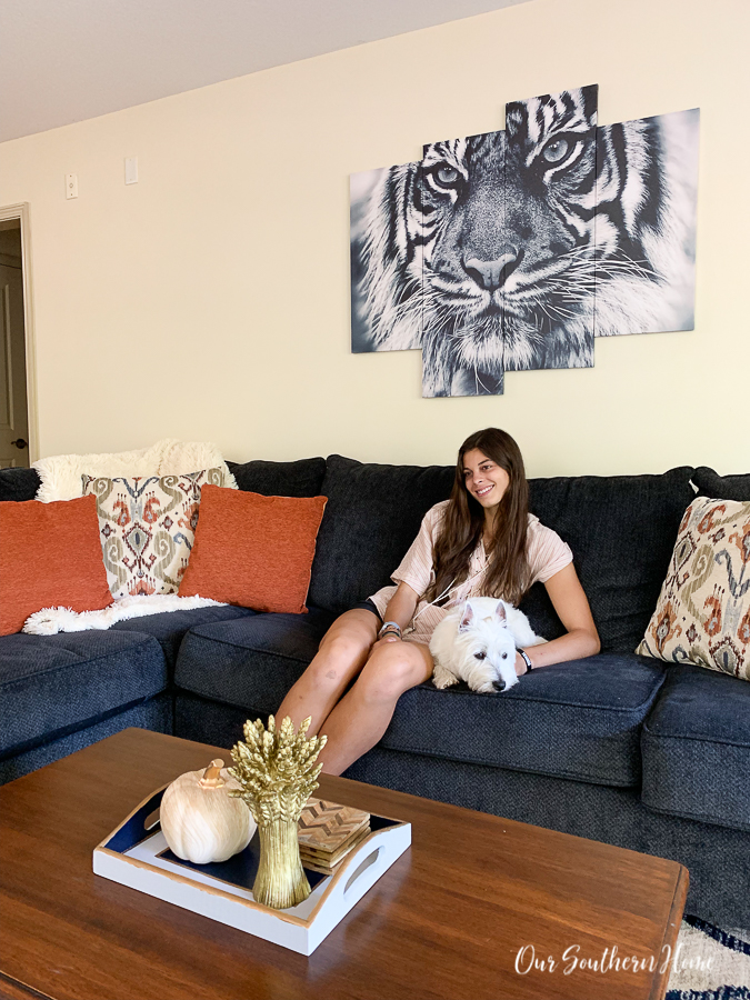living room with girl and dog