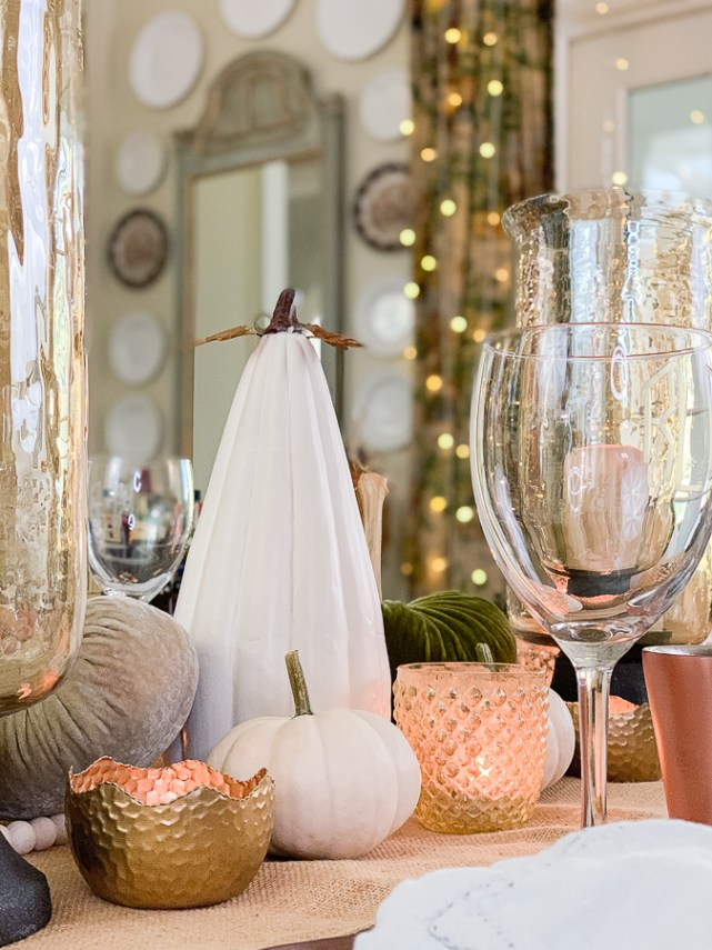 fall dining room with pumpkins