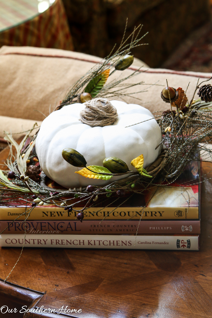 Fall home tour full of ideas for your porch and vignettes within you house via Our Southern Home