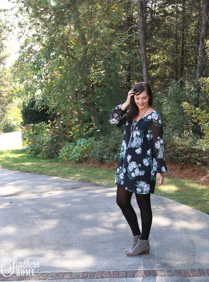 Florals are big for fall this year! They can be both romantic and edgy! #fallfashion #fashionover40 #over40style #falldresses