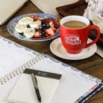 calendar, breakfast and coffee