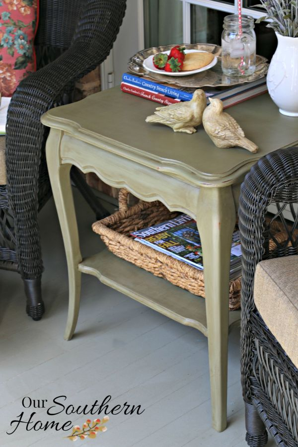 french country painted end table by our southern home