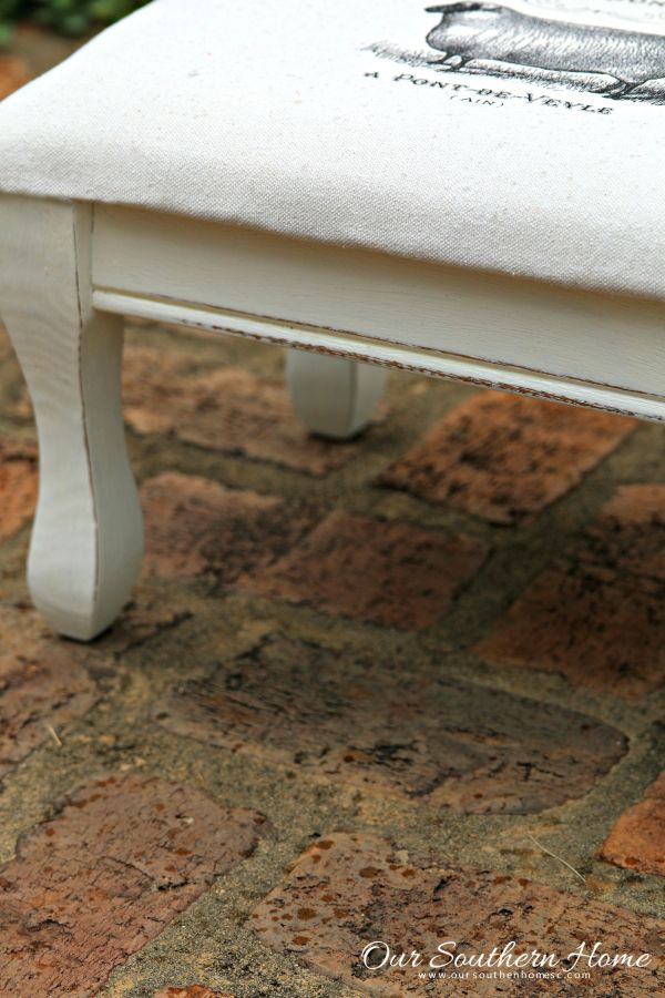 French Country sheep stool makeover using an image transfer technique by Our Southern Home #themedfurnituremakeoverday